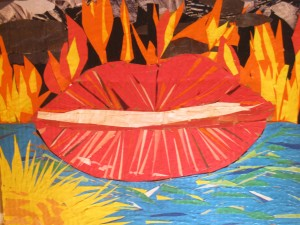 "Power of the tongue. 2011. 15"" by 13"". Collage on cardboard. Thru His vessel JB. Worship painting (John the Baptist). Copyright 2011. This image presented is prohibited without the permission of the artist."