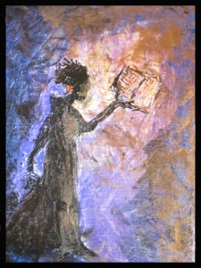 """The Lamp. (2009). 16"""" by 12"""". Fabric paint on canvas board. Thru His vessel JB. Worship painting series."""